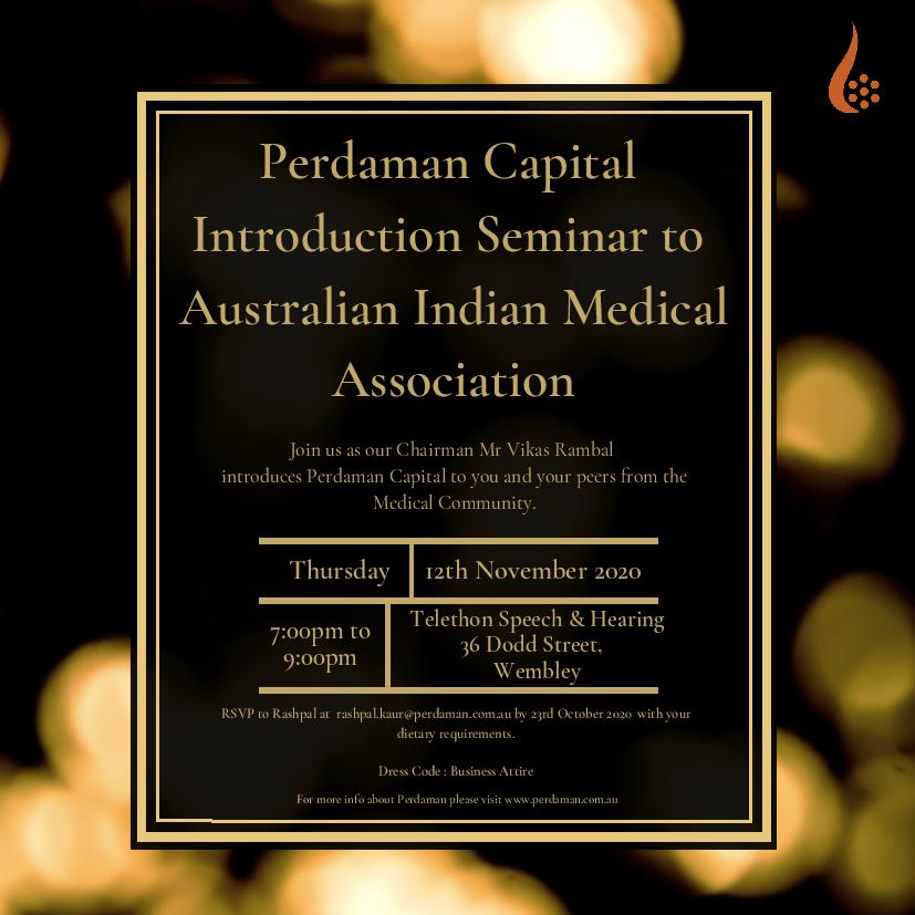 Perdaman Capital Introduction Seminar to Australian Indian Medical Association